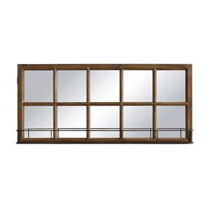 Rectangular Wood and Metal Window Pane Mirror with Shelf