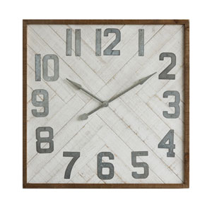 Square 36 In. Wood and Metal Wall Clock
