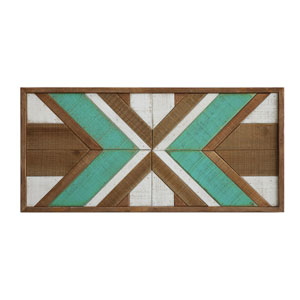 Brown and Turquoise Wood Wall Décor