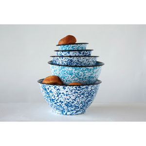 Blue Splatterware Round Enameled Bowls, Set of Five