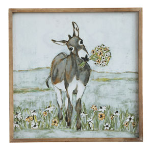 Donkey 20 In. Square Wood Framed Canvas Wall Décor