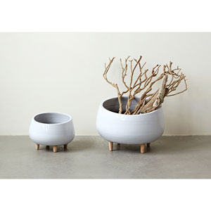 White 12.5 In. Round Ceramic Planter with Wood Feet