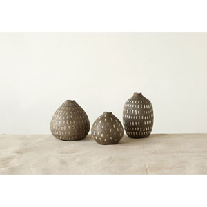 Gray Terracotta Vases with Hand-Painted Lines, Set of Three