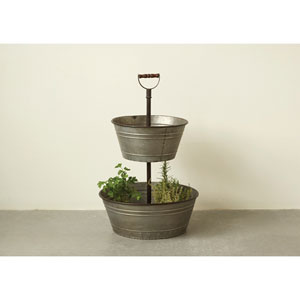 Metal Two-Tier Bucket with Wood Handle