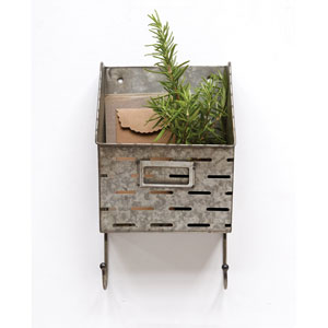 Metal Olive Wall Basket with Two Hooks