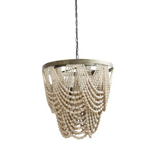 Round Three-Light Metal and Wood Bead Chandelier