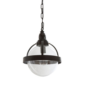 Metal and Glass Round Pendant Lamp