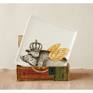 Square Ceramic Plate with Pig Decal