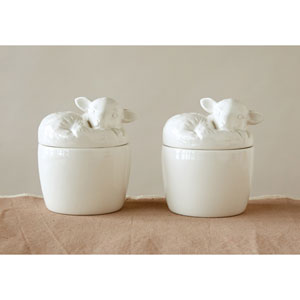 White Lamb Ramekin with Lid