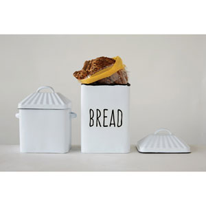 White Enameled Bread Box with Lid and Handles