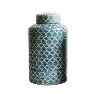 Tall Blue Fret Hand-Painted Ginger Jar
