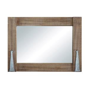 Wood Rectangular Wall Mirror with Metal Brackets