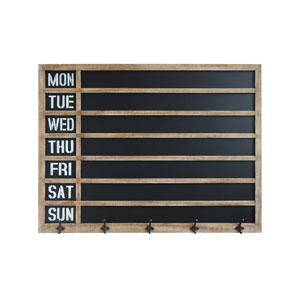 Wood Framed Weekly Chalkboard with Five Hooks