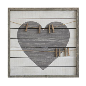 Heart Wood Wall Art with Eight Clips