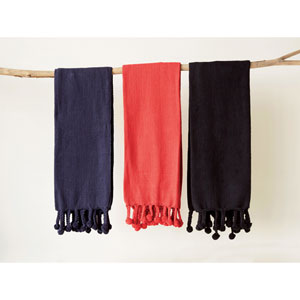 Red Cotton Throw with Pom-Pom