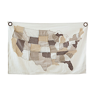 Cotton Stitched USA Map Wall Décor with Rivets
