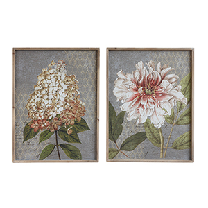 Flowers with Wood Frame Canvas Wall Art, Set of Two