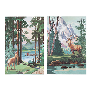 Deer Canvas Wall Art, Set of Two