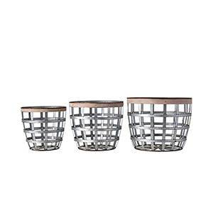Casual Country Metal Baskets with Wood Strips, Set of 3