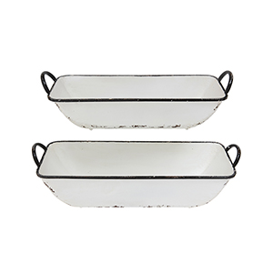Grange Distressed White Decorative Metal Containers, Set of 2