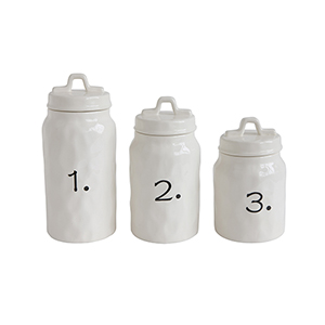 Collected Notions White Ceramic Canisters with Numbers, Set of 3