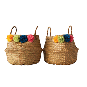 Little One Palm Leaf Collapsible Baskets with Pom Poms, Set of 2