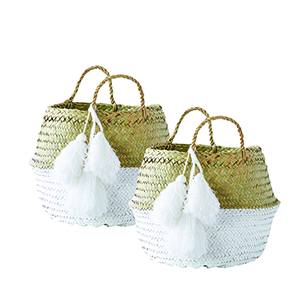 Beige and White Palm Leaf Collapsible Baskets with Tassels, Set of 2