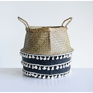 Collected Notions Collapsible Seagrass and Black Basket with White Tassels