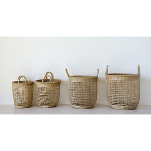 Mint and Mist Seagrass Baskets with Handles, Set of 4