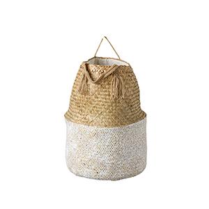 Grange Round Natural and White Seagrass Basket