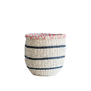 Bits and Bobs Pink and Natural Seagrass Basket with Black Stripes