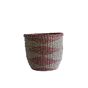 Marin Natural and Red Round Seagrass Basket