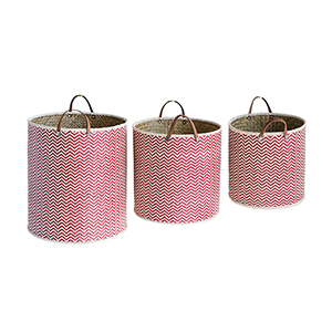 Marin Red Chevron Seagrass Baskets with Handles, Set of 3