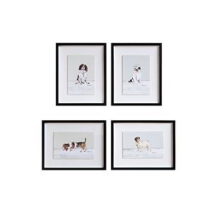 Framed Dogs Wall Art, Set of Four