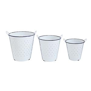 Waterside White Round Enameled Buckets, Set of 3