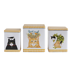 Secret Garden Multicolor Decorative Tin Containers with Cats, Set of 3