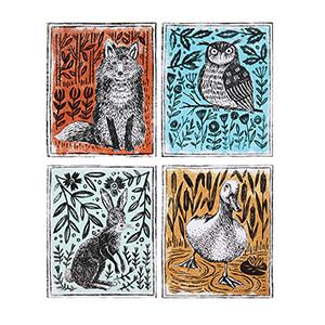 Woodland Animals Canvas Wall Décor, Set of Four
