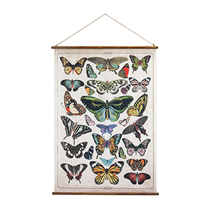 Butterflies Burlap Scroll Wall Banner