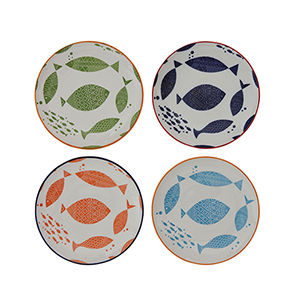 Waterside Multicolor Stoneware Bowls with Fish Images, Set of 4