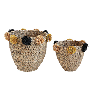 Terrain Seagrass Baskets with Yellow and Black Pom Poms, Set of 2