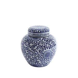 Blue and White 12-Inch Decorative Stoneware Ginger Jar