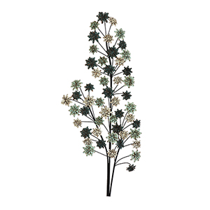 Metal Branch with Flowers Wall Décor