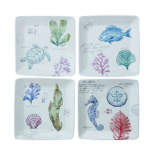 Fleur de Sel Multicolor Stoneware Plates with Sea Life Images, Set of 4