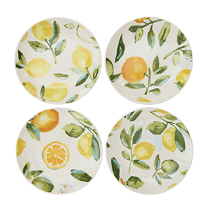 Gatherings Multicolor Stoneware Plates with Citrus Fruit Images, Set of 4