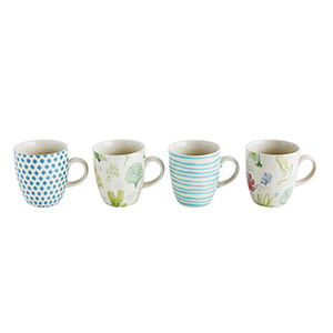 Fleur de Sel Multicolor Stoneware Mugs, Set of 4