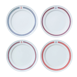 Marin Multicolor Stoneware Plate with Anchor and Stripes, Set of 4
