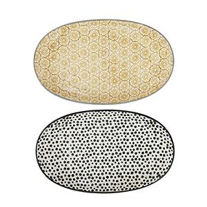 Gatherings Yellow, Black and White Stoneware Plates, Set of 2
