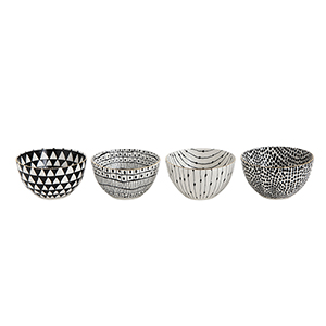 Collected Notions White and Black Stoneware Bowls with Gold Electroplating, Set of 4