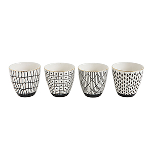 Collected Notions White and Black Stoneware Cups with Gold Electroplating, Set of 4