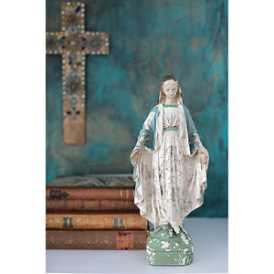 Cream and Turquoise Vintage Mary Statue